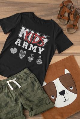 T-shirt rock Kiss Army de couleur noir avec les membres du groupe