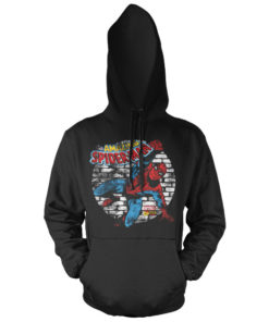 Sweat à capuche Distressed Spider-Man de couleur Noir