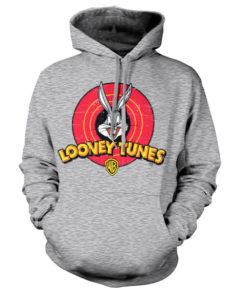Sweat à capuche Looney Tunes Logo de couleur Gris Chiné