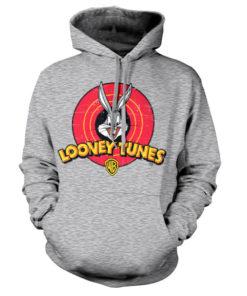 Sweat à capuche Looney Tunes Logo de couleur Gris Chiné