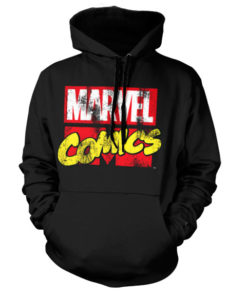 Sweat à capuche Marvel Comics Retro Logo de couleur Noir