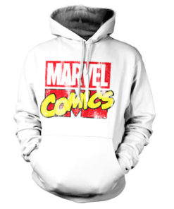 Sweat à capuche Marvel Comics Retro Logo de couleur Blanc
