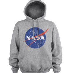 Sweat à capuche NASA Washed Insignia de couleur Gris Chiné