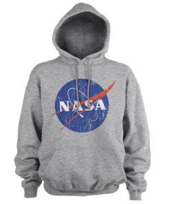 Sweat à capuche NASA Washed Insignia de couleur Gris Chiné