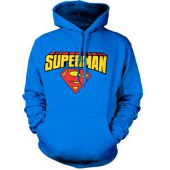 Sweat à capuche Superman Blockletter Logo de couleur Bleu