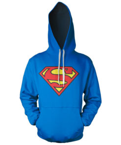 Sweat à capuche Superman Shield de couleur Bleu