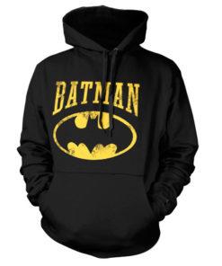 Sweat à capuche Vintage Batman de couleur Noir