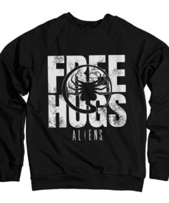 Sweat Aliens - Free Hugs de couleur Noir