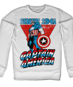 Sweat Captain America Since 1941 de couleur Blanc