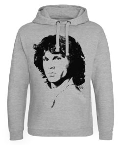 Sweat capuche Jim Morrison Portrait de couleur Gris Chiné