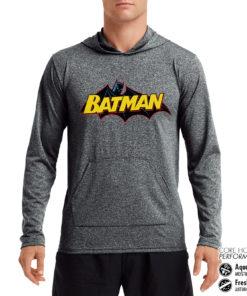 Sweat de sport Batman Retro Logo Performance anti-transpirant de couleur Gris Noir Chiné