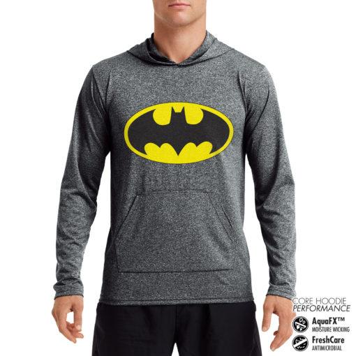 Sweat de sport Batman Signal Performance anti-transpirant de couleur Gris Noir Chiné