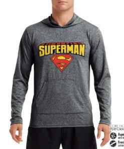 Sweat de sport Superman Blockletter Logo Performance anti-transpirant de couleur Gris Noir Chiné