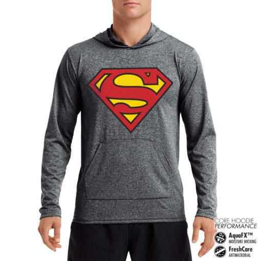 Sweat de sport Superman Shield Performance anti-transpirant de couleur Gris Noir Chiné
