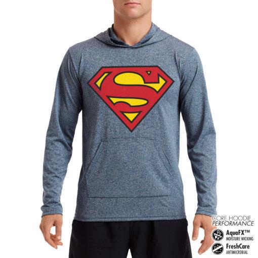 Sweat de sport Superman Shield Performance anti-transpirant de couleur Gris bleu