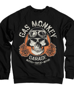Sweat Gas Monkey Garage Skull de couleur Noir