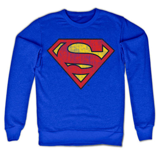 Sweat Superman Washed Shield de couleur Bleu