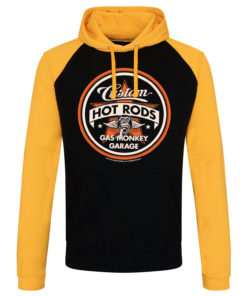 Sweatshirt à capuche Gas Monkey Garage Custom Hot Rods de couleur Noir/Jaune