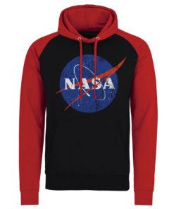 Sweatshirt à capuche NASA Washed Insignia de couleur Noir/Rouge