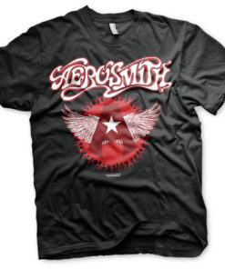 T-Shirt Aerosmith Flying A Logo de couleur Noir