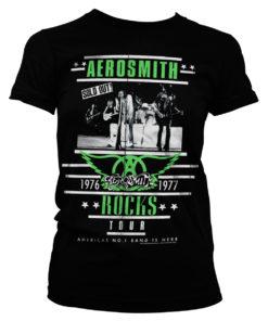 T-Shirt Aerosmith ROCKS Tour pour Femme de couleur Noir