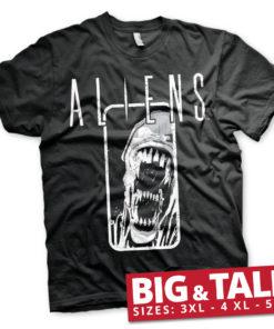 T-shirt Aliens grandes Tailles de couleur Noir
