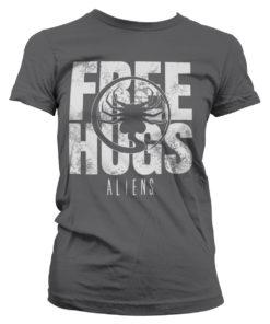 T-Shirt Aliens - Free Hugs pour Femme de couleur Gris Foncé