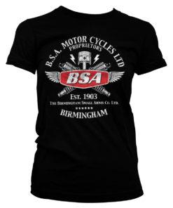T-Shirt B.S.A. Motor Cycles Sparks pour Femme de couleur Noir