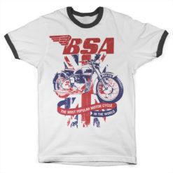 T Shirt B.S.A. Union Jack Ringer  de couleur Blanc/Noir