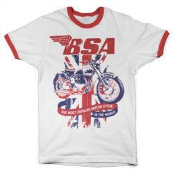 T Shirt B.S.A. Union Jack Ringer  de couleur Blanc/Rouge