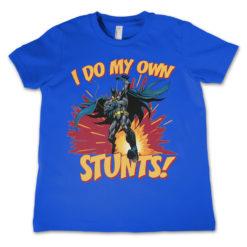 T-Shirt Batman - I Do My Own Stunts  pour enfant de couleur Bleu