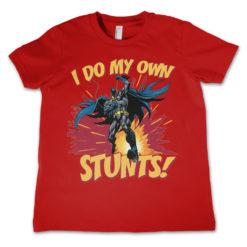 T-Shirt Batman - I Do My Own Stunts  pour enfant de couleur Rouge