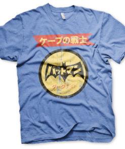 T-Shirt Batman Japanese Retro Logo de couleur Bleu Chiné