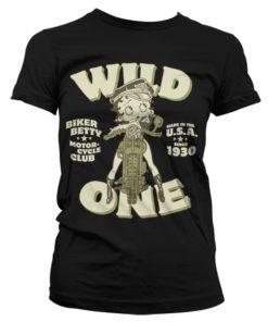 T-Shirt Betty Boop MC Club pour Femme de couleur Noir