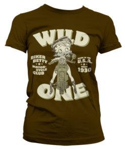 T-Shirt Betty Boop MC Club pour Femme de couleur Marron