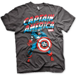 T-shirt Captain America grandes Tailles de couleur Gris Foncé