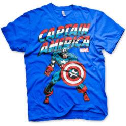 T-shirt Captain America grandes Tailles de couleur Bleu