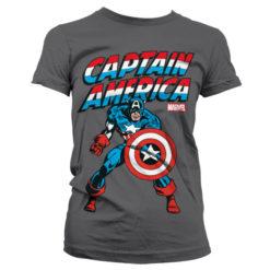 T-Shirt Captain America pour Femme de couleur Gris Foncé
