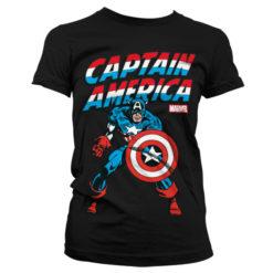 T-Shirt Captain America pour Femme de couleur Noir