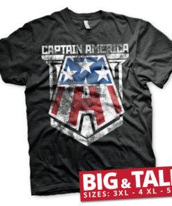 T-shirt Captain America grandes Tailles de couleur Noir
