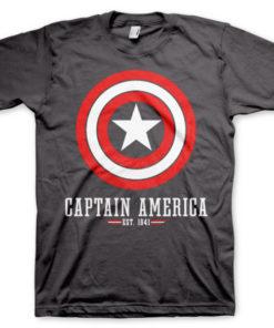 T-shirt Captain America Logo grandes Tailles de couleur Gris Foncé