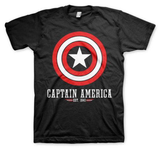 T-shirt Captain America Logo grandes Tailles de couleur Noir