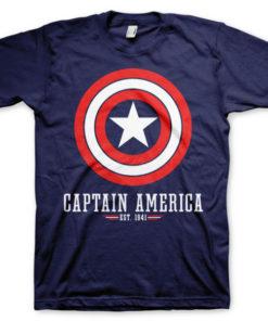 T-shirt Captain America Logo grandes Tailles de couleur Bleu Nuit