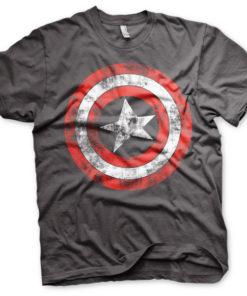 T-shirt Captain America Shield grandes Tailles de couleur Gris Foncé