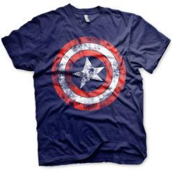 T-shirt Captain America Shield grandes Tailles de couleur Bleu Nuit