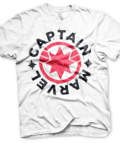 T-Shirt Captain Marvel Round Shield de couleur Blanc