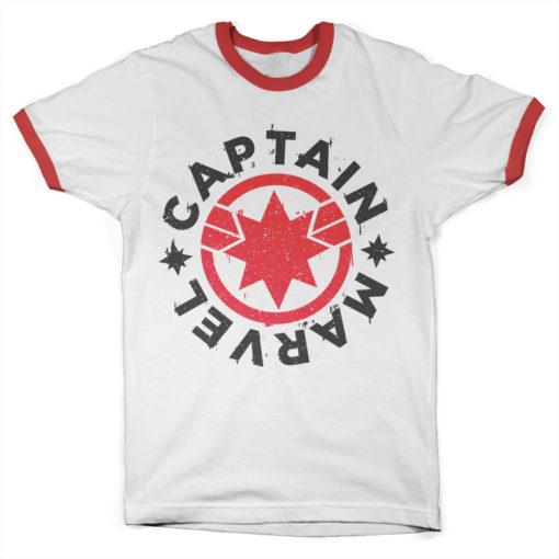T Shirt Captain Marvel Round Shield Ringer  de couleur