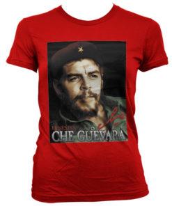 T-Shirt Che Guevara Portrait pour Femme de couleur Rouge