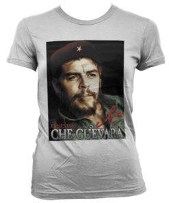 T-Shirt Che Guevara Portrait pour Femme de couleur Blanc