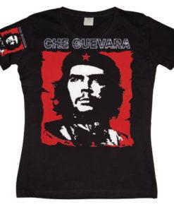 T-Shirt Che Guevara Red & White T-shirt pour Femme de couleur Noir